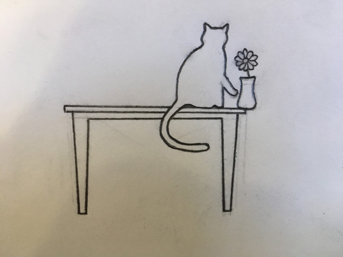 Vase Cat Sketch